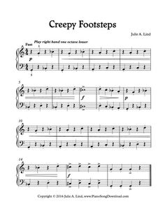 Creepy Footsteps, Free Level 2 printable Halloween Song for .-Creepy Footsteps, Free Level 2 printable Halloween Song for piano Creepy Footsteps, a fun Halloween piano solo for beginning piano lessons. Piano Songs, Piano Sheet Music, Piano Lessons, Music Lessons, Piano Classes, Keyboard Lessons, Christmas Sheet Music, Halloween Songs, Halloween 2020