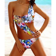 $13.54 Stylish One Shoulder Floral Print Tropical Bathing Suit For Women