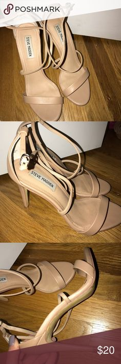Nude heels Nude, strappy Steve Madden heels. Only worn once. Perfect condition. Steve Madden Shoes Heels