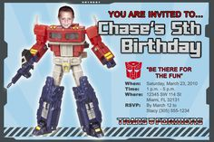 Transformers Invitations Custom Designed  with Your Child as the Action Figure Design 5. $9.99, via Etsy.