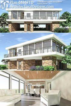 Modern House Plans : Architectural Designs Modern House Plan gives you an open floor plan 2 Stilt House Plans, Beach House Plans, House On Stilts, House Floor Plans, Contemporary House Plans, Modern House Plans, Modern House Design, Style At Home, Modern Carport