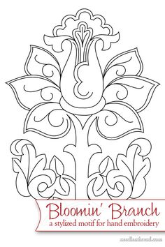 A classic, blooming motif for hand embroidery, this Bloomin' Branch would work well in goldwork, whitework, crewel embroidery - or practically any adaptable surface embroidery technique. Click through for the free PDF printable!