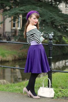 Beret, striped bardot top, Collectif Tammy skirt and the Erstwilder A Change in the Wind brooch outfit.