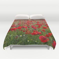 Field of poppies in the lake Duvet Cover by Guido Montañés - $99.00