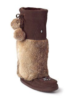 21147f2d92c Manitobah Mukluks - Genuine Rabbit Fur   Sheepskin Lined Tall Kanada Mukluk  Rabbit Fur