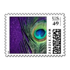 20 Purple Peacock Postage Stamps $22.20 www.allthingspeacock.com - Peacock Everything Else (2)