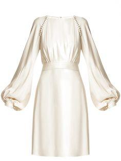 Wrap Wedding Dress, Wedding Dress Chiffon, Wedding Dress Sleeves, New Wedding Dresses, Bridesmaid Dresses, Lace Dress With Sleeves, Women Wear, White Dress, Tie