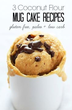 3 Mug Cake Recipes for dessert in a flash! They are made with coconut flour so they are gluten-free, low carb and paleo-friendly!