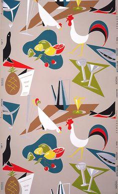 Kitchen or bar wall paper, 1955. USA. Cooper Hewitt