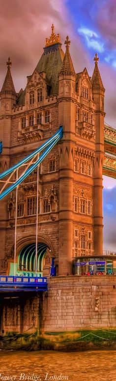Tower Bridge is a combined bascule and suspension bridge which was built in 1886-1894.  The bridge crosses the River Thames close to the Tower of London and has become a symbol of London, England.