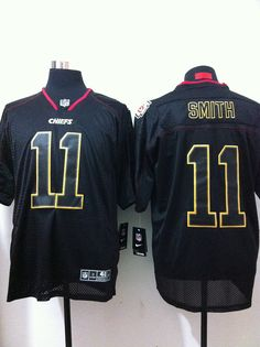 ef5b9e64a Men s Nike NFL Kansas City Chiefs  11 Alex Smith Black Elite Champs Tackle  Twill Jerseys