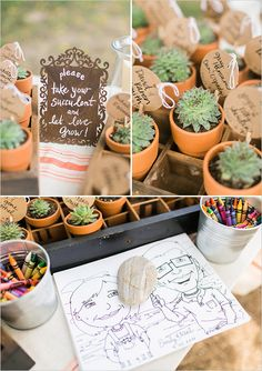 Succulent escort cards and coloring pages