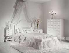 Enchanting Girls Bedrooms With Hearts Theme Batticuore By Halley Junior: Snow Princess Bedroom Design Ideas with Small Canopy