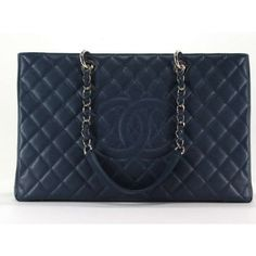 Chanel XL Navy Grand Shopping Tote Bag ❤ liked on Polyvore featuring bags, handbags, tote bags, tote purses, navy handbags, blue totes, navy tote and chanel purse