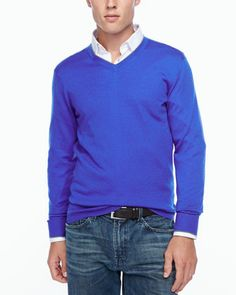 Tipped V-neck sweater, blue by Neiman Marcus at Neiman Marcus.