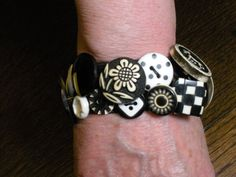 Black and White Button Bracelet Beauty by buttoncrazy1219 on Etsy, $20.00
