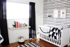 Graphic Black and White Woodland Nursery - #nursery #blackandwhite #nurserydecor