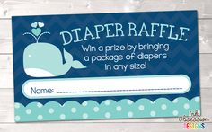 Little Squirt Blue Whale Printable Diaper Raffle Ticket – Instant Download Printable PDF