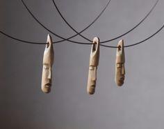 Face no.4 - minature sculpture wooden jewelry, unique wood necklace,. $75.00, via Etsy.