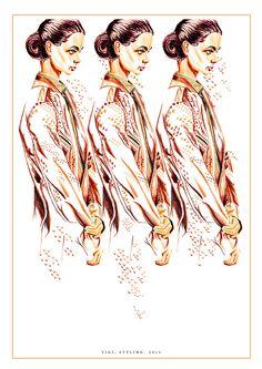 Colour pencil fashion illustration for Tigi.