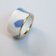 hand-sculpted porcelain & gold lustre 'Bling Ring' by Ruby Pilven • $33