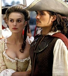 Orlando Bloom and Keira Knightley as Will & Elizabeth from Pirates of the Caribbean: The Curse of the Black Pearl (2003)
