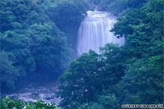 """Cheonjiyeon Falls, South Korea...... The beautiful waterfall takes its name, which means """"the pond of the gods,"""" from a legend about seven heavenly attendants coming down to ea..."""