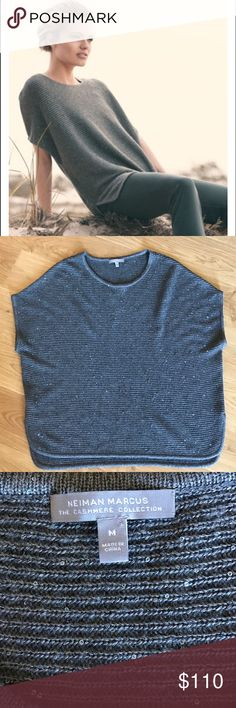 Neiman Marcus Cashmere sweater 100% cashmere sleeveless horizontal ribbed sequin top. It does have some slight wear as seen in pictures but can be shaved off. There ar end holes or rips in the sweater. From a smoke free home. Neiman Marcus Sweaters