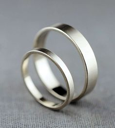 Couple's White Gold Wedding Bands | Here we have a simple pair of wedding bands, just right for th... | Rings #weddingring