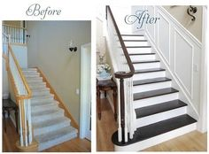 wainscoting pictures on a breakfast bar   Wainscotting on staircase walls @ Pin For Your Home