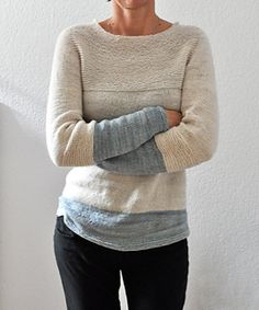Antler - 5.40 EUR  Antler is a cosy every day sweater. Easy to wear with a feminine neckline and nice garter stitch details. Play with colorblocking!  It is worked top-down in one piece with saddle shoulders and contiguous sleeves. No picked up stitches or sewing is needed.  To keep it cosy a wool or wool blend is recommended.