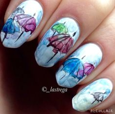 Watercolour weather themed nails