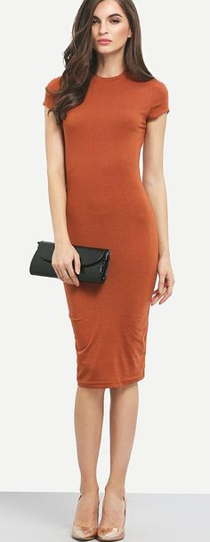 Chic lady, chic styles. Don't hesitate to show off your charming curves. This camel crew neck bodycon dress features slim silhouette make it perfect for any special occasion!