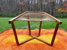 MODERNIST VINTAGE HAMMOCK CHAIR WITH ROPE CORD/STAINED OAK FRAME Mid-Cent Mod (SOLD)