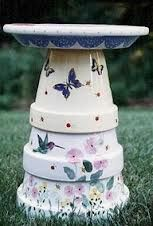 Painted clay pot birdbath.