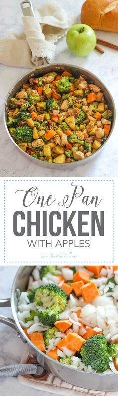 One Pan Chicken with Apples is an easy and rustic dinner option made with healthy vegetables and apples. This dish is the quintessential fall recipe!