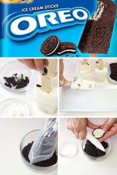 Sencilla #receta de las deliciosas #galletas #Oreo. Con muy pocos ingredientes obtienes un montón de #helados!