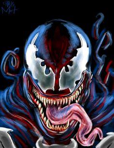 Monday Villainy: Venom....    #Venom #Spiderman #Marvel #symbiote #eddiebrock #alien #black #marvelcomics #evil #villain #edmonton #artist #illustrator