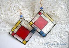 """Купить """"В стиле Мондриана"""" Прозрачные серьги - разноцветный, мондриан, искусство, прозрачные серьги"""