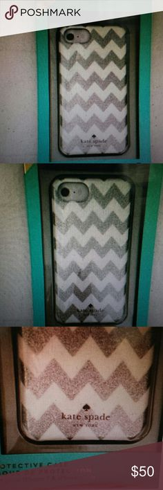 Kate Spade NWT Silver Glitter Chevron IPhone Case Kate Spade NWT Glitter Chevron IPhone Protective Case for IPhone 7, 6 /6S, new in box Kate Spade Accessories Phone Cases