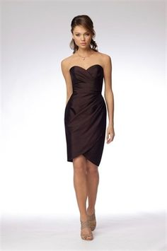 Picture of Chocolate Brown Cocktail Dresses, Knee Length Homecoming Dresses