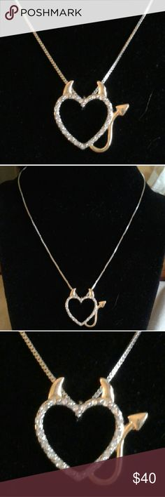 """Genuine Crystal Heart/Devil Silver/Gold Plated Nk New...Express your Devilish Side with This Genuine, Crystal Open Heart, Devil 18"""" Necklace w/Two Inch Extender. It's Silver-Plated with Gold Plated Horns and Tail...Comes With a Packaged, Anti-Tarnish, Polishing Cloth. Fine Fashion Jewelry Jewelry Necklaces"""