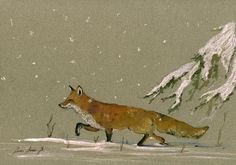 PRINT-Red fox snow forest Christmas- print watercolor painting art wall red fox head portrait - Art Print by Juan Bosco Fox Painting, Painting Snow, Forest Painting, Winter Painting, Watercolor Paintings, Watercolor Cards, Fox In Snow, Snow Forest, Snow Art