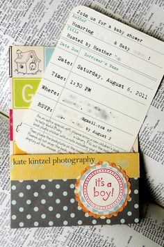 Library Cards for Invitations | Baby Shower Invitations - adorable! Will work for boy or girl! @Jess Pearl Pearl Mezzapesa