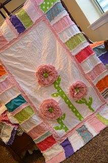 Wish I had time to make this.  So pretty!  A Vision to Remember All Things Handmade Blog: Ruffled Flower Rag Quilt Set Finished
