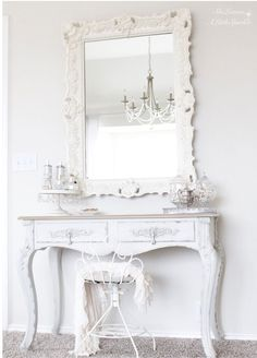French cottage style bedroom, romantic elegant serene master bedroom suite, bright white home, vanity, French provincial, ornate mirror, chandelier, ruffle throw blanket, tufted headboard, pin tuck duvet cover, neutrals.