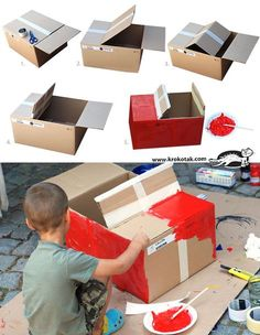 For kids cardboard box car cardboard box crafts for toddlers home improve. Cardboard Car, Cardboard Box Crafts, Cardboard Box Ideas For Kids, Diy For Kids, Crafts For Kids, Diy Crafts, Car Costume, Diy Costumes, Diy Projects