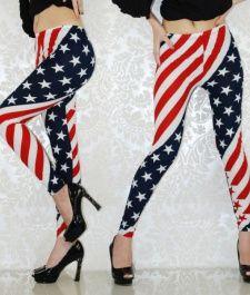 8bfa1ee3713 Dámské legíny s potiskem americké vlajky CREME Hvězdy