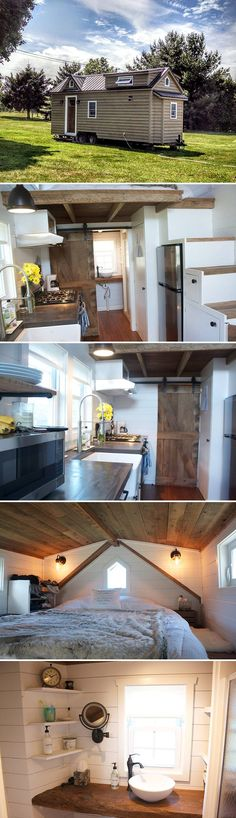 Built on a 24' trailer and uses reclaimed wood throughout. A custom-built barn door to the bathroom, bamboo flooring, and a custom concrete countertop.