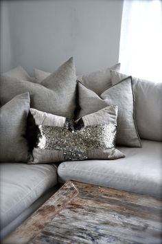 neutral cushions with a touch of silver